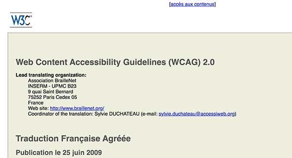Recommandations WCAG 2.0